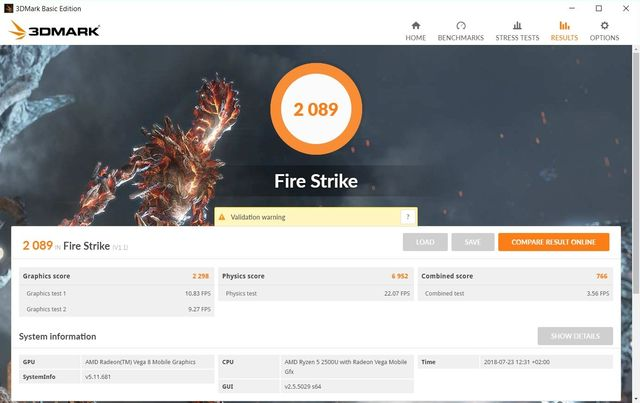 HP ENVY 360 AMD Ryzen 2500U 3DMark Fire Strike Benchmark