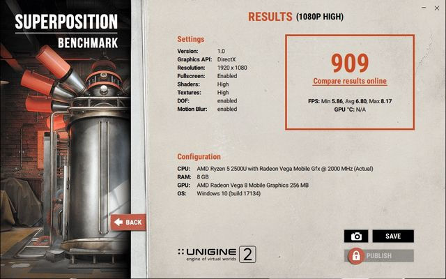 HP ENVY 360 AMD Ryzen 2500U Unigine Superposition Benchmark