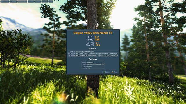 HP ENVY 360 AMD Ryzen 2500U Unigine Valley Benchmark