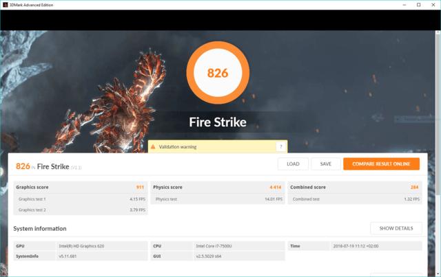 Asus ZenBook i7-7500U 3DMark Fire Strike Benchmark