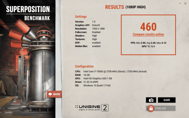 Asus ZenBook i7-7500U Unigine Superposition Benchmark