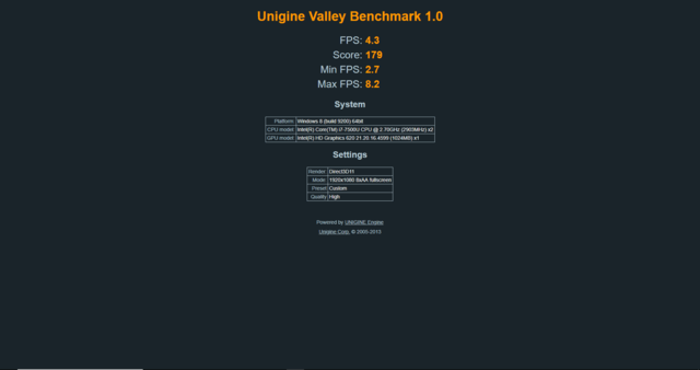 Asus ZenBook i7-7500U Unigine Valley Benchmark