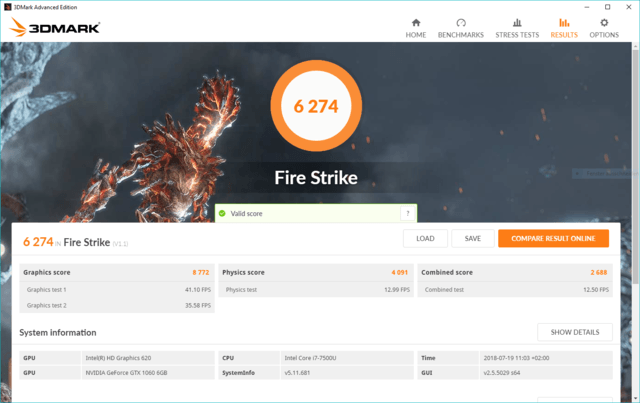 Zotac AMP Box Mini eGPU 3DMark Fire Strike Benchmark