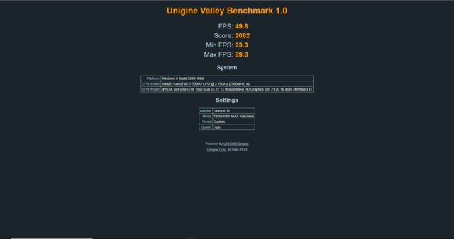 Zotac AMP Box Mini eGPU Unigine Valley Benchmark